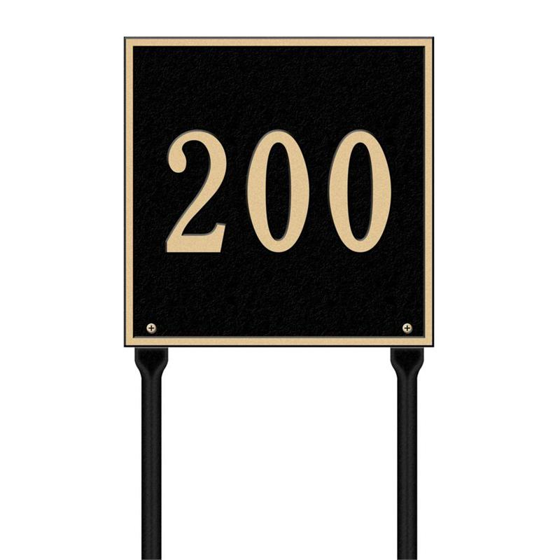 Square Standard Address Plaque Lawn Sign One Line