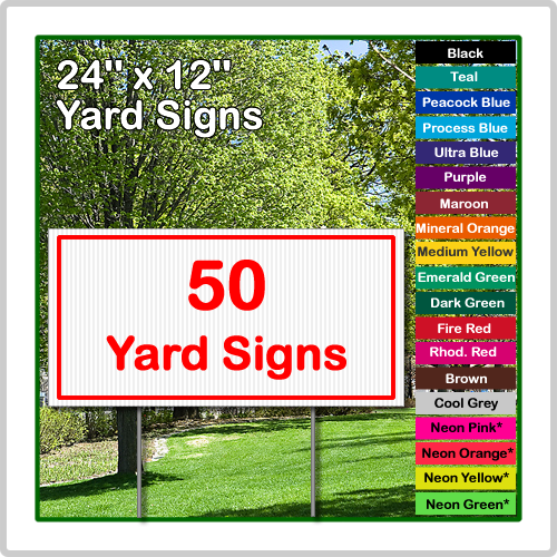 Amazing 24 X 12 Yard Sign Corrugated Plastic 50 Signs Door Handles Collection Olytizonderlifede