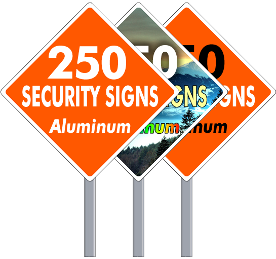 Aluminum Security Yard Signs Diamond Shape 250 Per Box