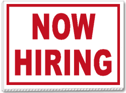 Now Hiring 24x18 Yard Sign 1 Color