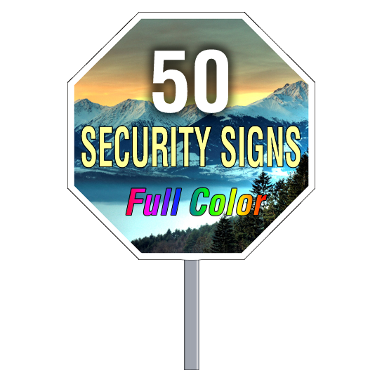 Buy 50 Custom Full Color Octagon Shaped Security Signs