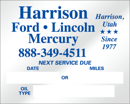 Oil Change Stickers 385 Panel A Sold Individually