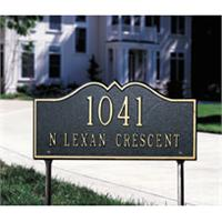 Hillsboro Standard Address Plaque Lawn Sign - Two Line - Black / Gold