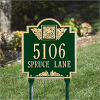 Monogram Standard Address Plaque Lawn Sign - Two Lines - Green / Gold