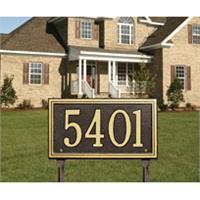 Double Line Standard Address Plaque Lawn Sign - One Line - Bronze / Gold
