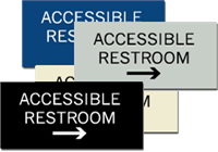 ADA Signs - Accessible Restroom with Right Arrow - 6'' x 3''