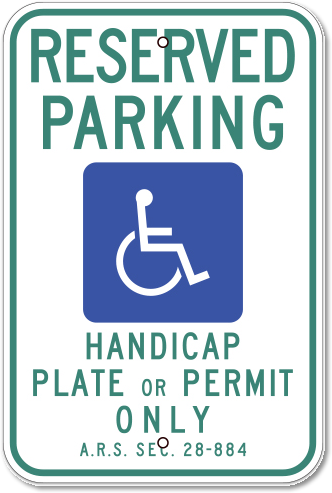 Arizona Reserved Parking With Handicap Symbol Sign
