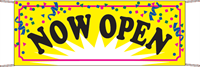Now Open Banner - Confetti Style