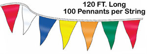 Custom Made Pennant String - 9 x 12 Triangle - 120 ft Long
