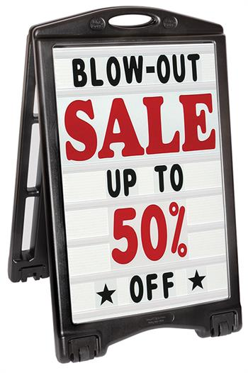 A-Plus Sidewalk Sign Deluxe with Letters - White Sign Face