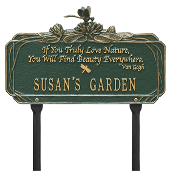 Dragonfly Garden Quote Personalized Lawn Plaque - Green / Gold