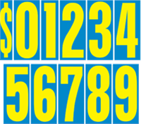 Easy to use Yellow and Blue removeable number kits for windshields.