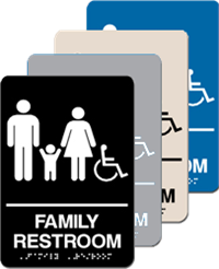 ADA Signage - Family Restroom Braille - 6'' x 9''
