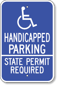 handicapped parking state permit required with accessible symbol