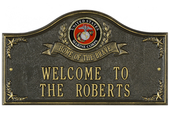 Marines Address Plaque - Home of the Brave - 2 Lines