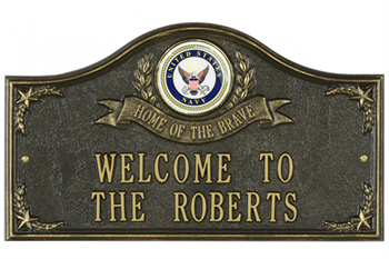 Navy Address Plaque - Home of the Brave - 2 Lines