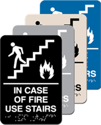 ADA Signange - In Case of Fire Use Stairs Braille - 6'' x 9''