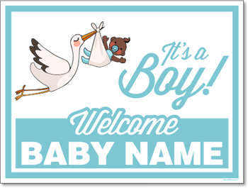 Custom Birth Annoucement Sign - It's A Boy (Dark Skin tone)