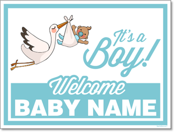 Custom Birth Annoucement Sign - It's A Boy (Medium Skin tone)