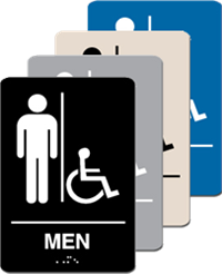 ADA Signage - Men with Accessible Braille - 6'' x 9''
