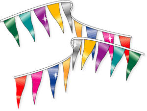 Metallic Rainbow Pennant String - 60 ft Long