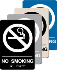 ADA Signage - No Smoking Braille Sign - 6'' x 9''