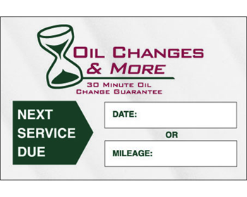 Oil Change Stickers - Two Panel Vertical Layout