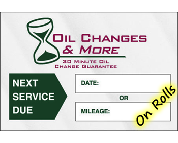 Oil Change Stickers - On Rolls of 1000 decals