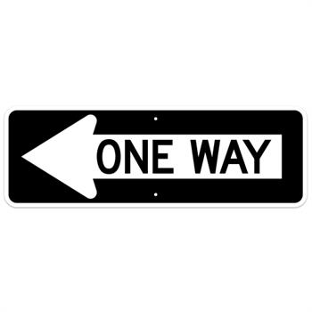 One Way with Left Arrow Sign