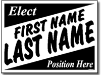 Political Signs with Stands - Design P31 - Slanted Names