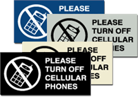Braille Sign - Please Turn Off Cellular Phones - ADA Signage - 6'' x 3''