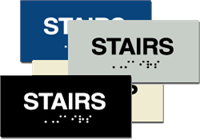 ADA Signs - Braille Sign - Stairs - 6'' x 3''