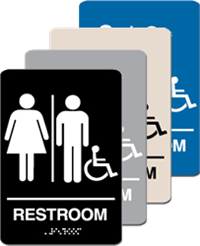 Unisex with Accessible Braille Sign - ADA Signange - 6'' x 9''