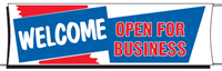 Welcome Open For Business Banner - 3 x 10 Slogan