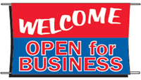 Welcome Open For Business Banner - 3 x 5 Slogan