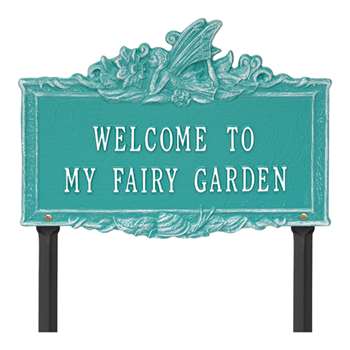 Welcome to My Fairy Garden Lawn Plaque - Teal / White