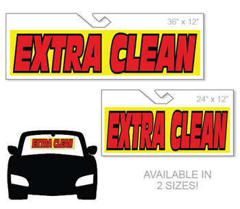 Windshield hang tag advertising sign with Extra Clean Message