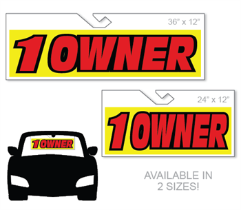 Windshield hang tag advertising sign - One Owner