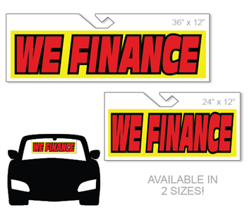 Windshield hang tag advertising sign - We Finance.
