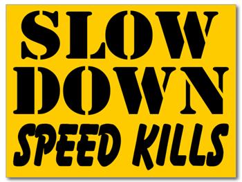Slow Down Speed Kills Yard Signs