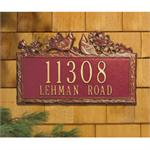 Woodland Cardinal Standard Address Plaque Wall Sign - Two Line - Red / Gold