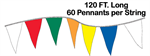 Economy Pennant String - 12 x 18 Triangle - 120 ft Long 60 flags per string