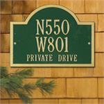 Wisconsin Special Standard Address Plaque Wall Sign Three Line - Green/Gold