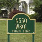 Wisconsin Special Standard Address Plaque Lawn Sign Three Line - Green/Gold