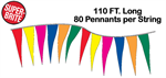 Fluorescent Icicle Pennant String - 6 x 18 Triangle - 110 ft Long
