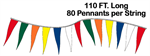 Change of Pace Pennant String - 6 x 18 Triangle - 110 ft Long 80 Flags