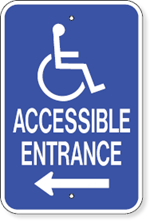 Accessible Entrance With Left Arrow and Handicap Symbol