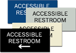 ADA Signage - Accessible Restroom with Left Arrow - 6'' x 3''