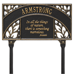 Aristotle Garden Personalized Lawn Plaque - Black / Gold