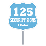 Buy 125 Custom One Color Badge Shaped Security Signs